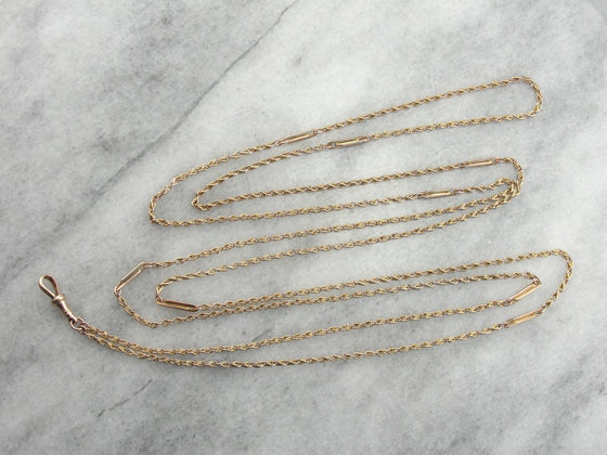 Unusually Long Lariat, Antique Victorian Pendant Watch Chain Crafted in Rose Gold