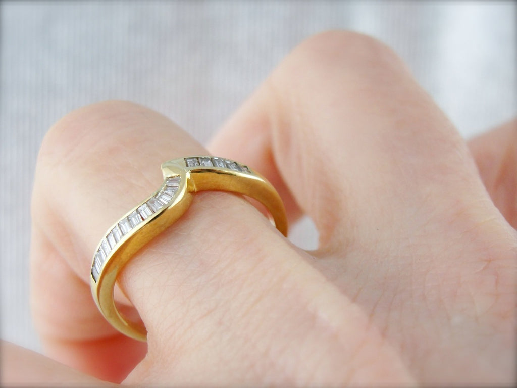 Baguette Diamond Channel Set Wedding Band, Curved to Fit or Wear Alone