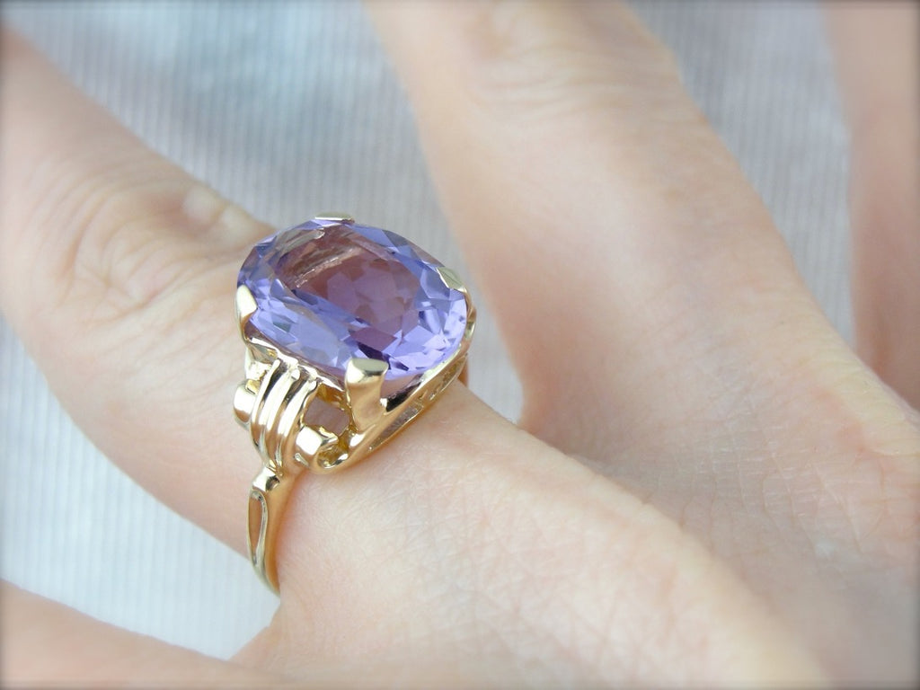 Amethyst Statement Ring in Yellow Gold