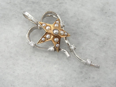 Star Bright Sweetheart, Unique Seed Pearl and Diamond Pendant