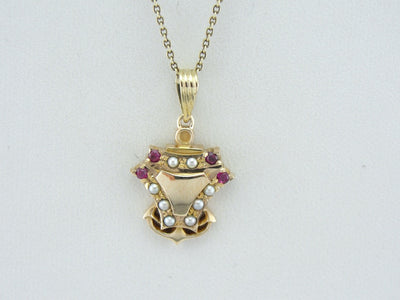 Antique Anchor Pendant of Yellow Gold, set with Rubies and Pearls, Signet Style Good Luck Charm