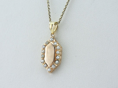 Antique Signet Pendant with Seed Pearl Frame in Gold, Good Luck Charm