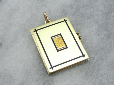 Heavy Gold Book Locket with Monogram and Enamel Details