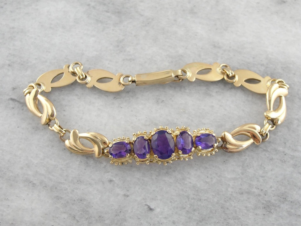Amethyst Gemstone Bracelet in Polished Yellow Gold