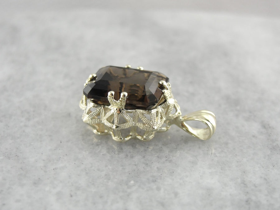 Smoky Quartz Filigree Pendant