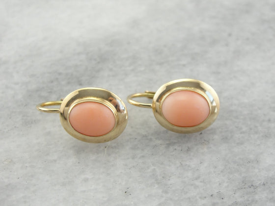 Pretty Pink Vintage Oval Coral Earrings