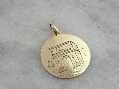 The Arch of Titus, Hand Etched Gold Disc