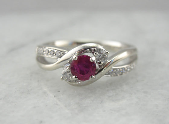 Modern Ruby and Diamond Anniversary Ring in White Gold