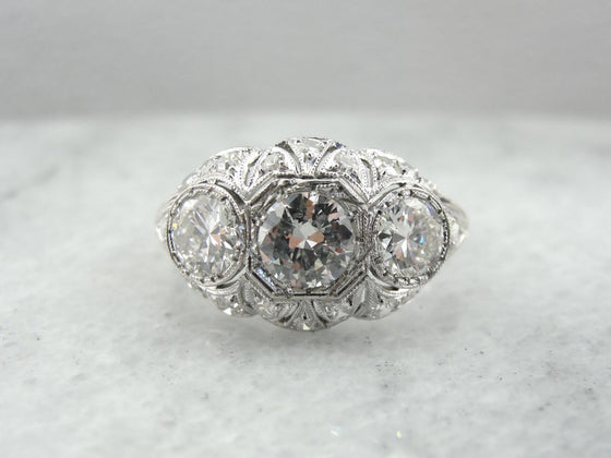 Gorgeous Diamond Edwardian Cocktail Ring in Bright Platinum Mounting, Three Old Mine Cut Diamonds