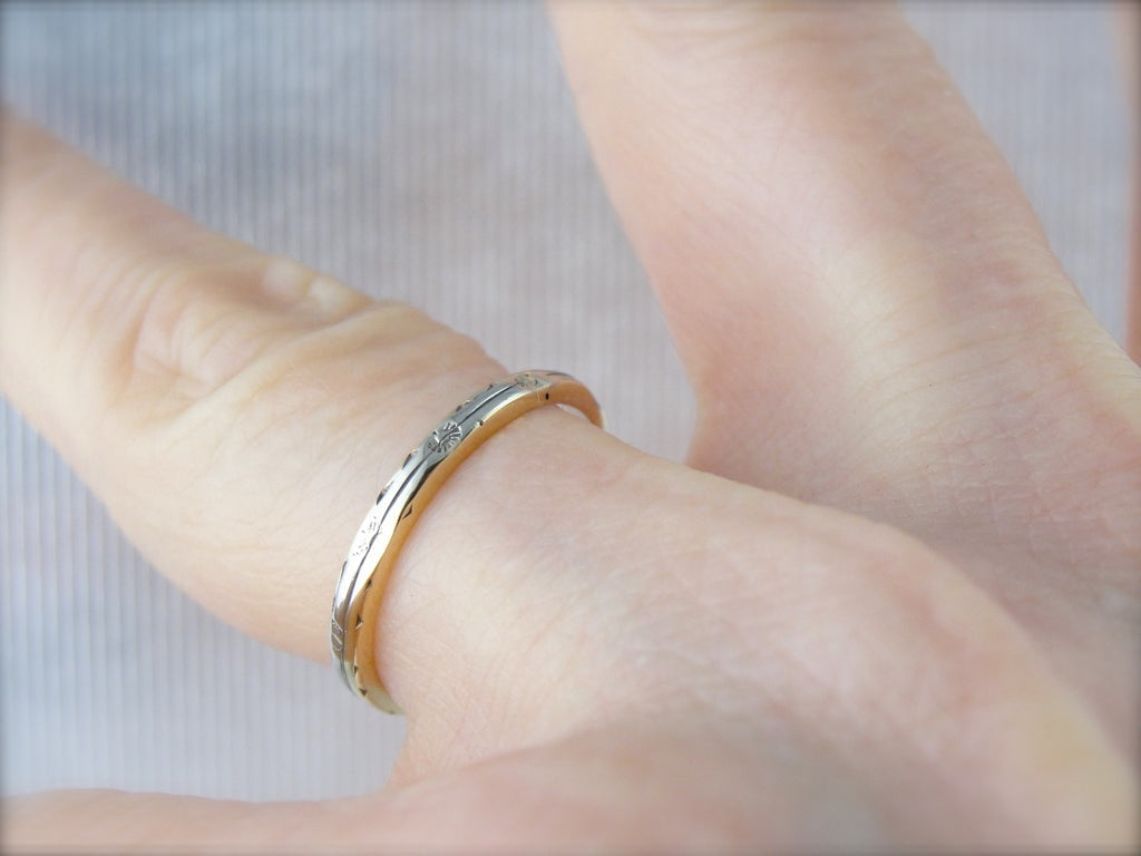 Yellow and White: Vintage Gold, Mixed Metal Pattern Stacking Band