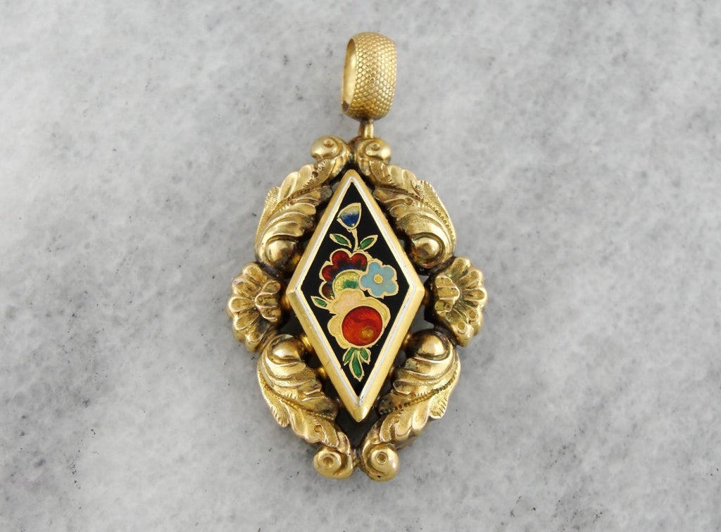 Antique Enamel Pendant