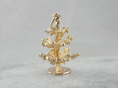 Golden Pine, Vintage Christmas Tree Pendant