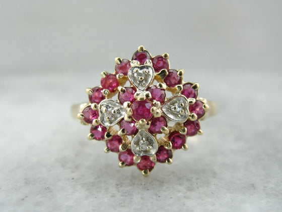 Glitzy Diamond and Ruby Cluster Cocktail Ring