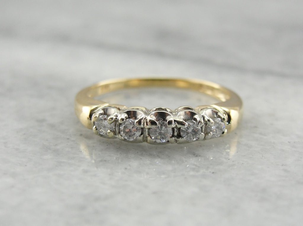Vintage Two Tone Gold and Diamond Wedding Band