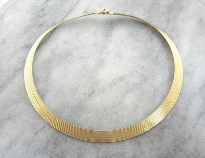 Reversible Italian Gold Collar Necklace, Vintage