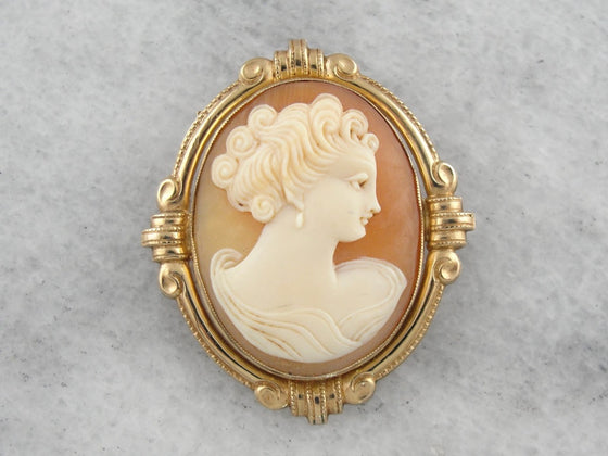 Victorian Revival Cameo Pendant or Brooch with Gold Frame