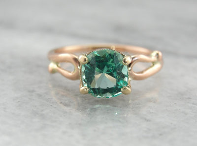 Fine Columbian Emerald Solitaire Ring in Rose and Yellow Gold