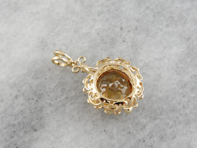 Golden Zircon Pendant, Filigree Frame