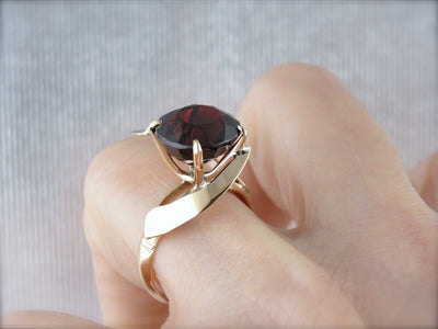 Simplistic Bypass Design Garnet Solitaire in Rosy Yellow Gold