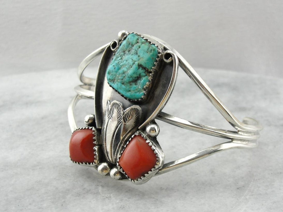 Coral and Turquoise Native American Cuff
