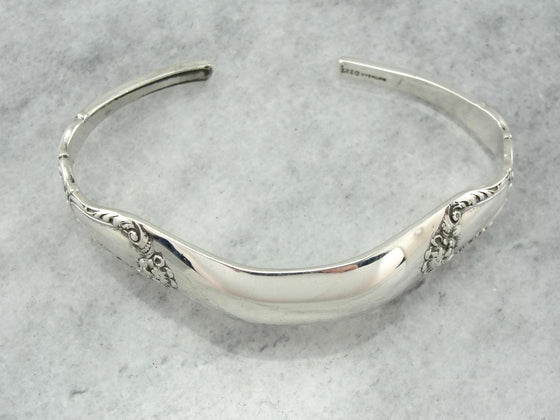 Upcycled Antique Flatware, Sterling Silver Cuff Bracelet