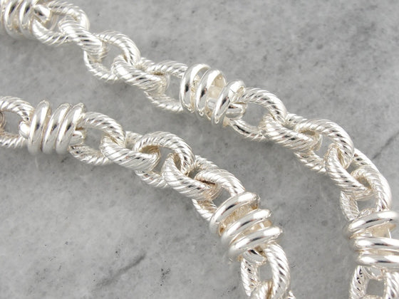 Bold Sterling Silver Chain Necklace, Nautical Rope Etched Links