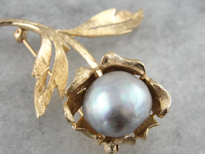 Bold Gold & Vintage Baroque Pearl Floral Brooch, Large Mid Century Statement Brooch