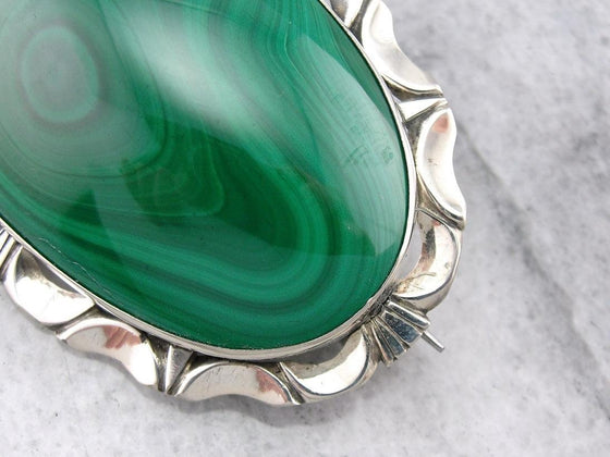 Bright Green Malachite Brooch or Pendant with Mid Century Sterling Frame