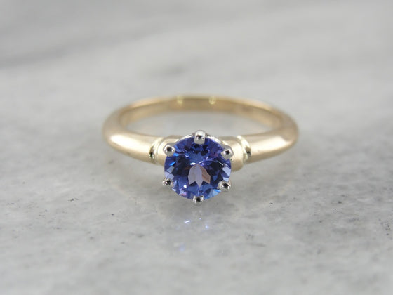 Pretty Purple Tanzanite Solitaire Ring