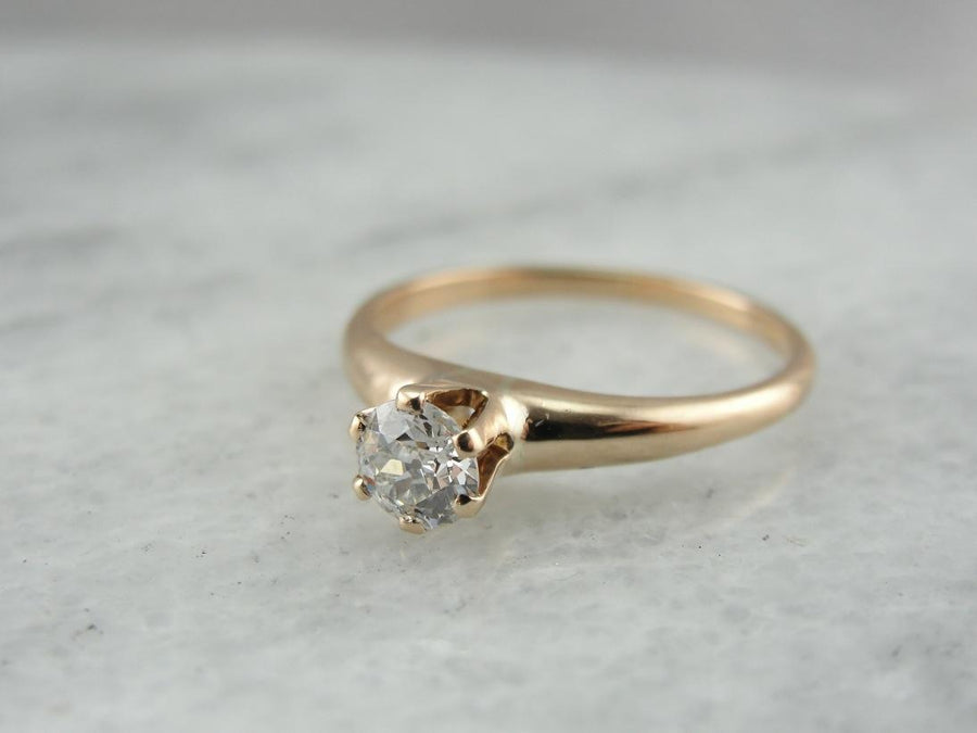 Antique Engagement: Old Mine Cut Diamond Solitaire Engagement Ring