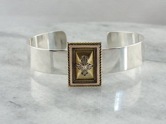 Antique 1800's Era Gold & Sterling Silver Cuff Bracelet, One of a Kind with Etruscan Themes