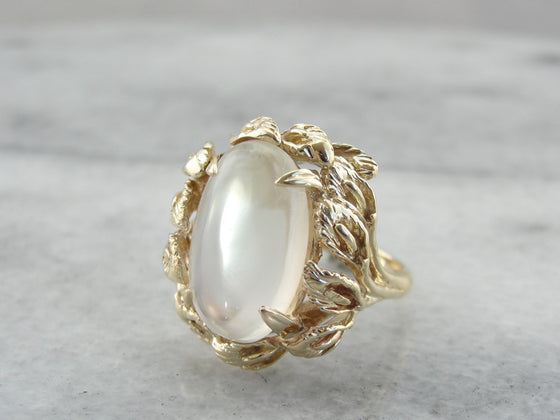 Moonstone Cocktail Ring in Botanical, Floral Yellow Gold Setting