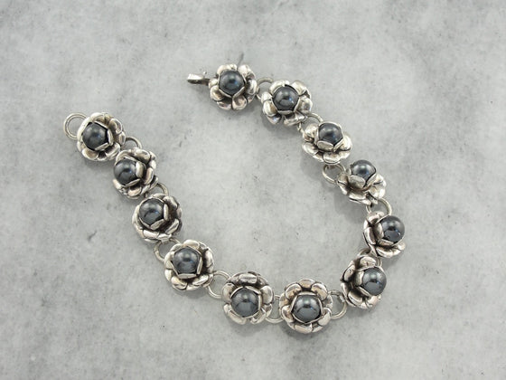 Chunky Retro Era Bracelet with Hematite and Sterling Silver Roses