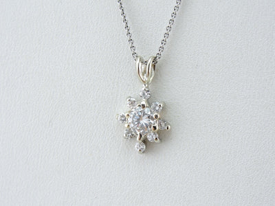 Diamond Snowflake, Sparkling Diamond Pendant in White Gold