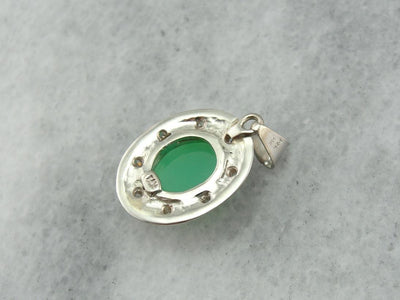 Mid-Century Springtime! Green Chrysoprase and Diamond Pendant