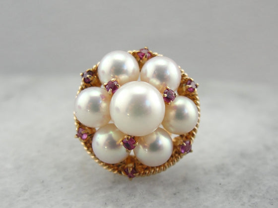 Funky Pearl and Ruby Cluster Ring in Rose Gold, Bold Statement, Cocktail Ring
