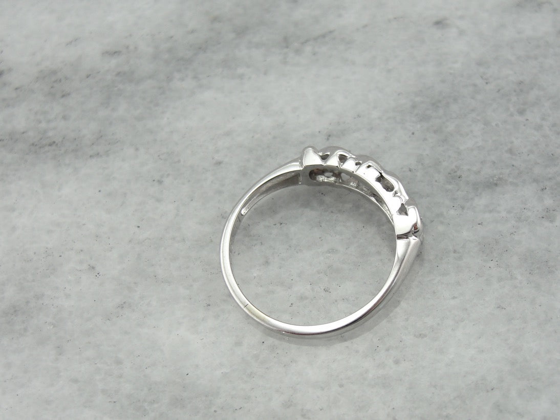 Vintage Diamond Band From The 1950's With Country Style, Leaf Motif