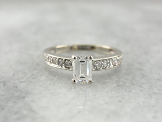 Emerald Cut Diamond Engagement Ring in White Gold, Classic Elegance