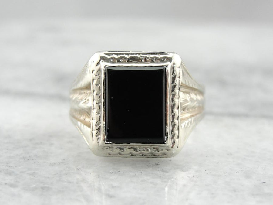 Vintage White Gold and Onyx Decorative Mens Ring