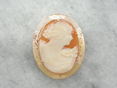 Shell Cameo with Rose Gold Frame, Pin or Pendant