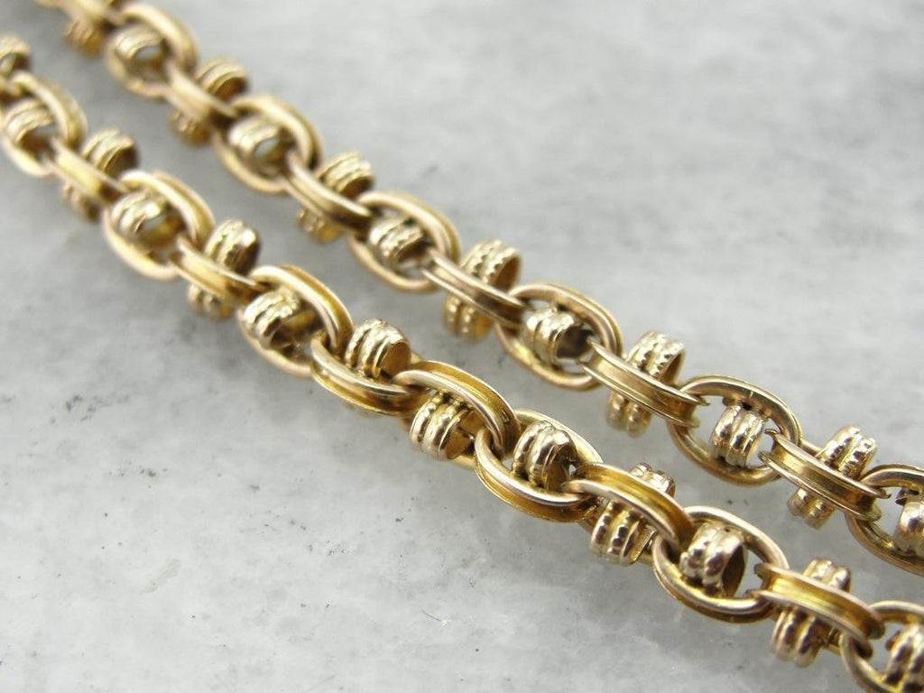 Antique Style Victorian Revival Yellow Gold Chain, Interlocked Decorative Styling