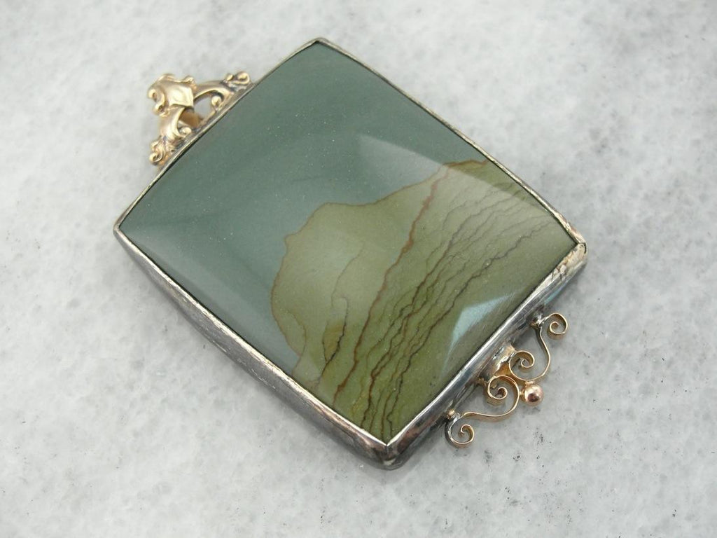 Beautiful Teal and Olive Green Picture Jasper Pendant