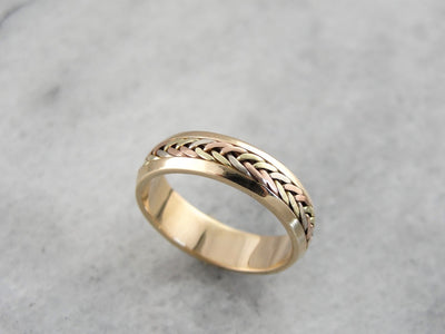 Vintage Multi Color Gold Wedding Band with Woven Center