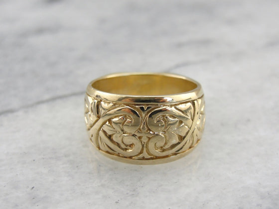 Wide Floral and Heart Patterned Wedding Band with European Shank