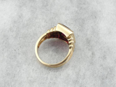 Vintage Masonic Red Lodge Ring in Yellow Gold