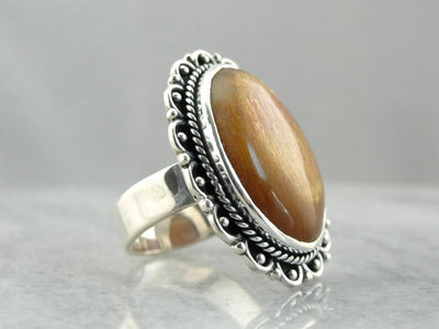 Golden Sunstone Knuckle Duster Cocktail Ring