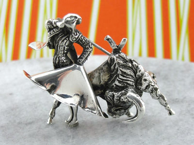 Ole! Incredibly Detailed, Collectible Matador, Vintage Sterling Silver Brooch, Bullfighting