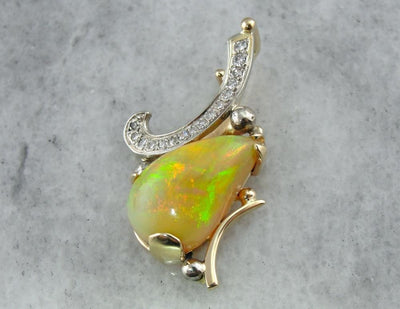 Contemporary Opal and Diamond Pendant