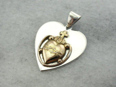 One of a Kind Sacred Heart and Thorns Pendant