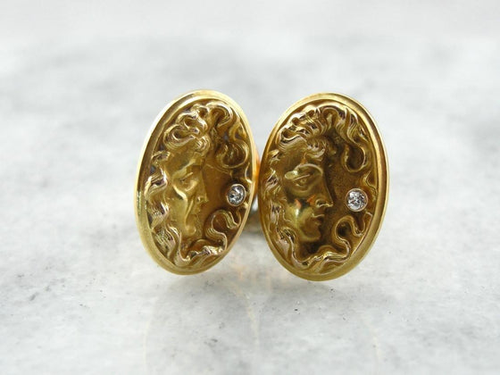 Diamond Goddess: Stunning Antique Cufflinks from the Art Nouveau Period